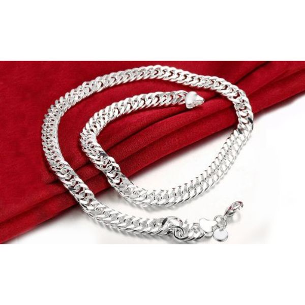 "18"" Curb Chain Necklace in 14K or 18K Gold - 3 Color Tones-18K White Gold-Daily Steals"