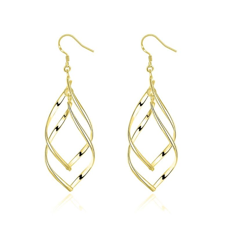 Spiral Twist Drop Earrings-Yellow Gold-Daily Steals