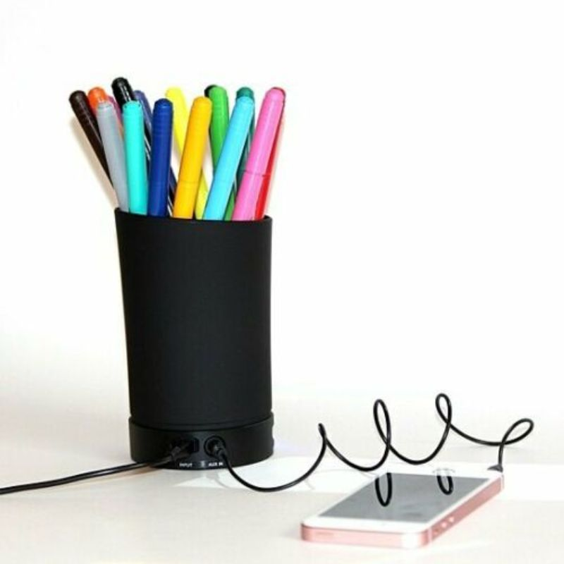 All-in-One Pencil Cup Speaker with Dual USB Port-Daily Steals