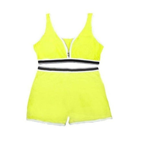 Sports Bra Top and Boyshort Set-Yellow-Set of 1-M-Daily Steals