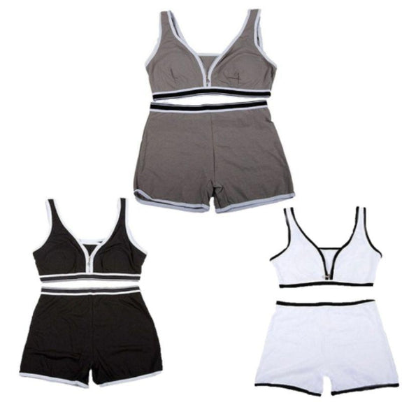 Sports Bra Top and Boyshort Set-White Black Gray-Set of 3-M-Daily Steals