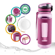 Swig Savvy Sports Water Bottle with Silicone Sleeve, Wide Mouth Leak Proof - 25oz-Daily Steals