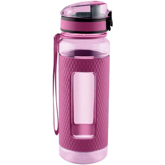 Swig Savvy Sports Water Bottle with Silicone Sleeve, Wide Mouth Leak Proof - 25oz-Pink-Daily Steals