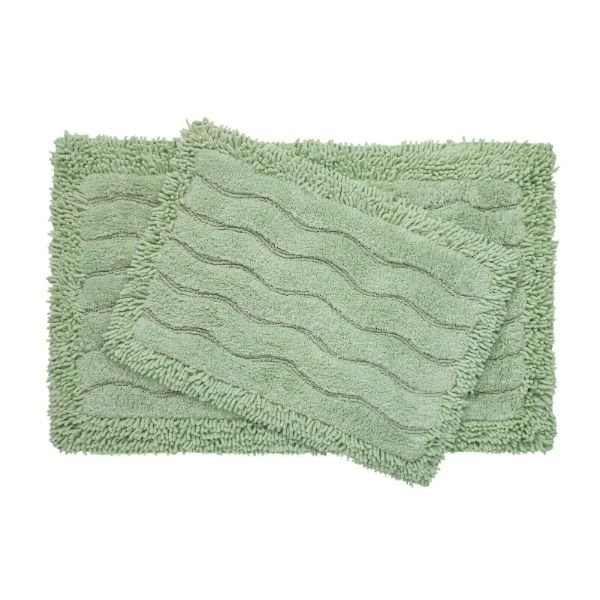 2-Piece Swirl Collection 100% Cotton Bath Rug Set-Sage-Daily Steals