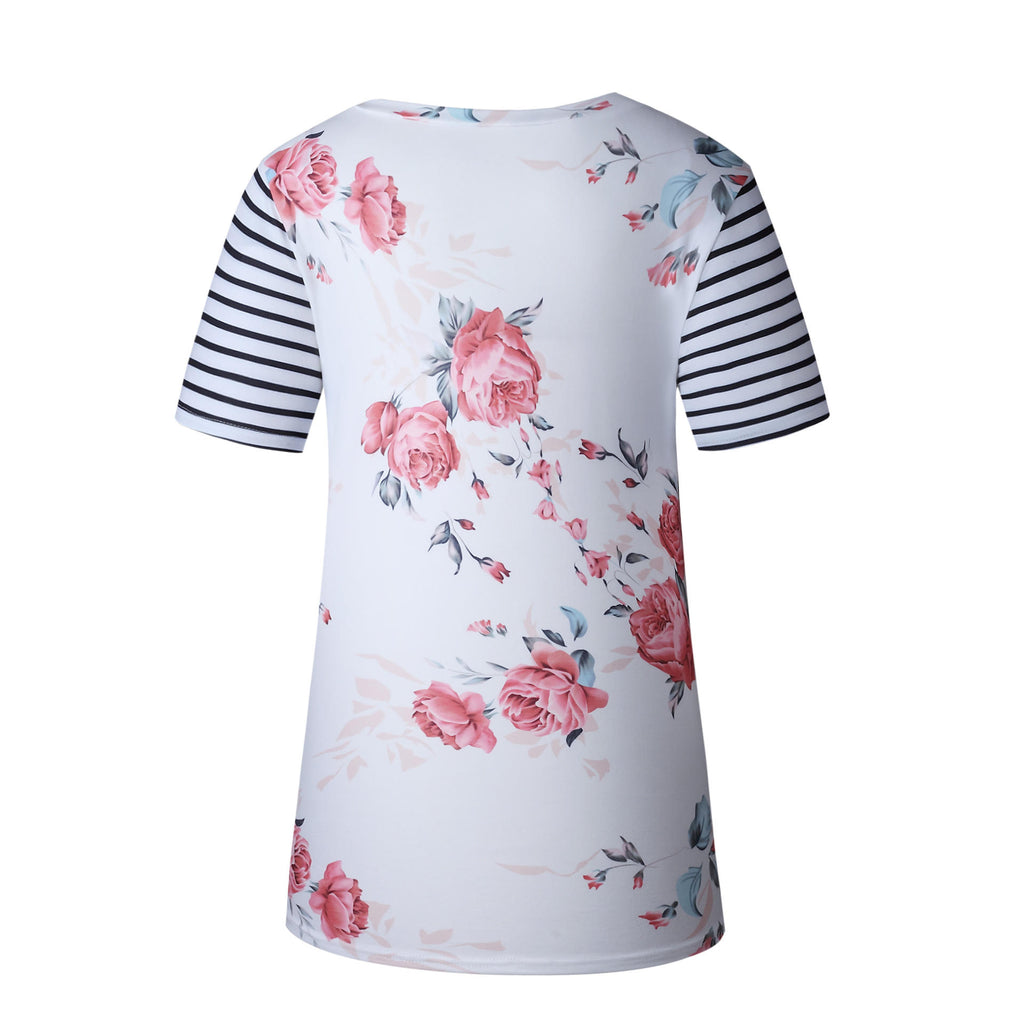Fashion Striped Sleeve Floral Shirt