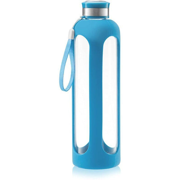 SWIG SAVVY Glass Water Bottle With Protective Silicone Sleeve & Leak Proof Lid-Blue-Daily Steals