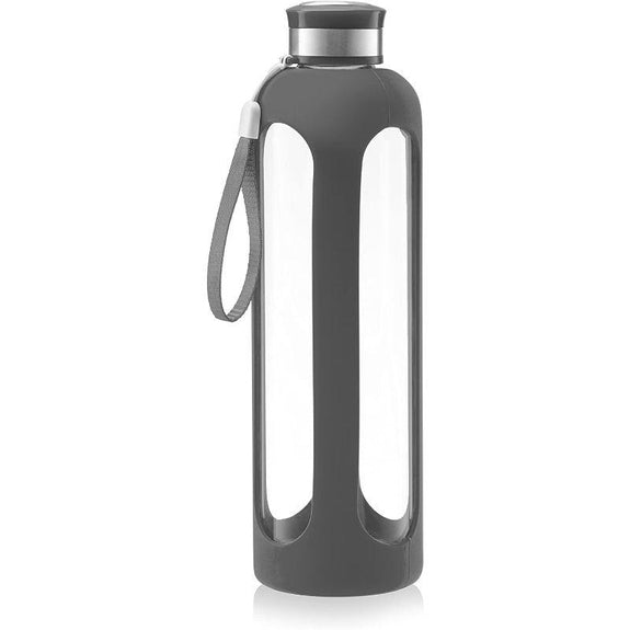 SWIG SAVVY Glass Water Bottle With Protective Silicone Sleeve & Leak Proof Lid-Grey-Daily Steals