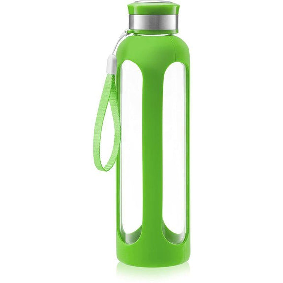 SWIG SAVVY Glass Water Bottle With Protective Silicone Sleeve & Leak Proof Lid-Green-Daily Steals