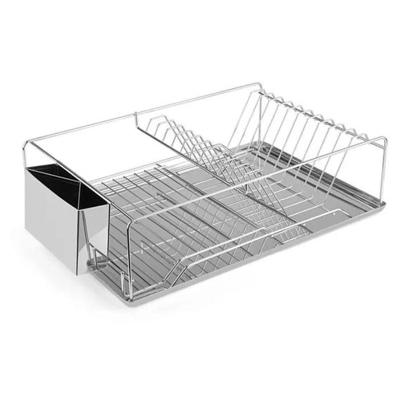 Stainless Steel Dish Rack with Side Cup and Drain Board-