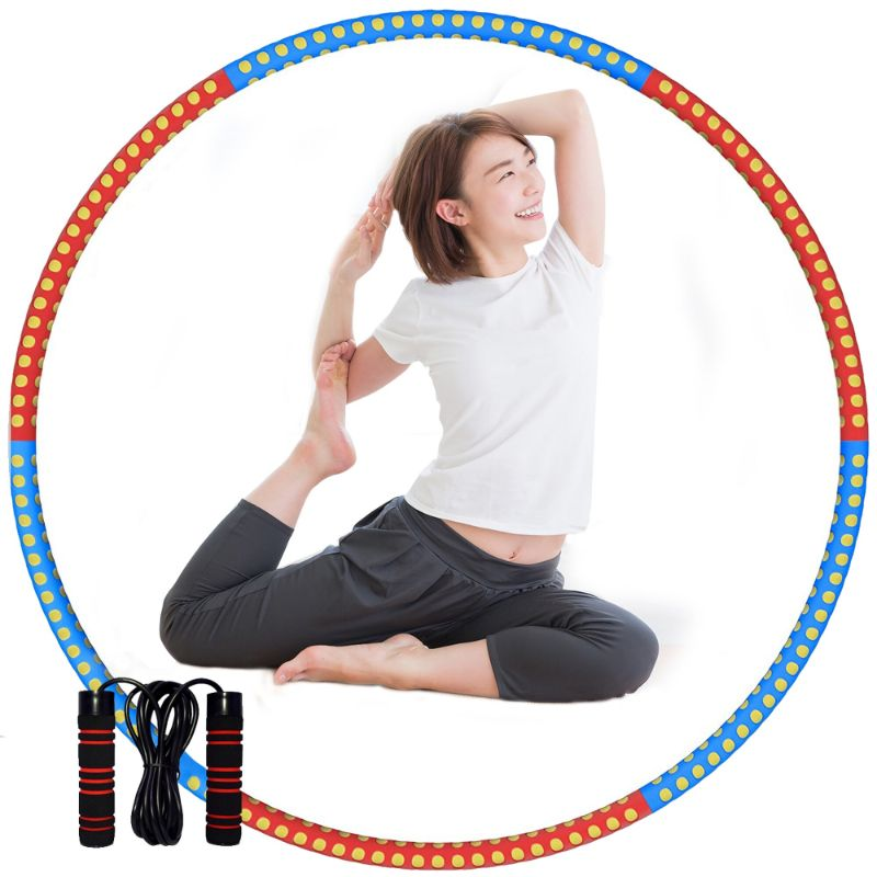 Detachable Fitness Hula Hoop with Six Removable Sections plus Jump Rope