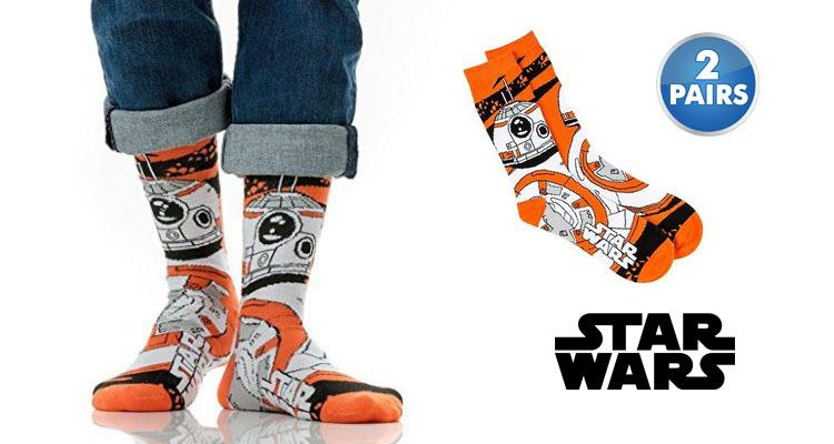 Daily Steals-Star Wars Men's BB-8 Droid Socks - 2 Pack-Men's Apparel-