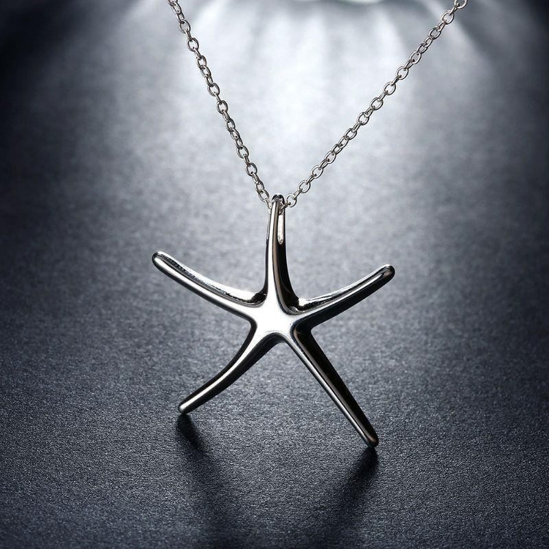 Starfish Necklaces Plated in 18K White Gold-