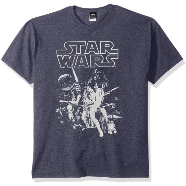 Star Wars Men's Official 'Poster' Design Performance Graphic Tee-Navy Heather-2XL-Daily Steals
