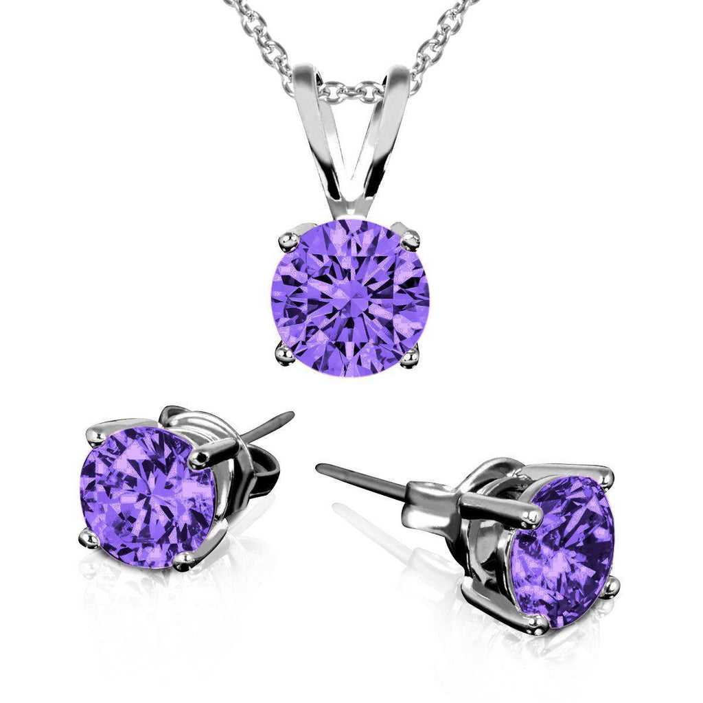 Daily Steals-Sterling Silver Amethyst Earring And Necklace Set-Jewelry-