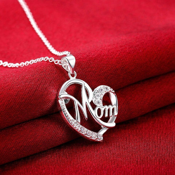Daily Steals-Sterling Silver Austrian Crystal Mom Heart Necklace-Jewelry-