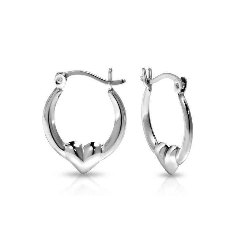 Sterling Silver Classic Heart Design Hoop Earrings-