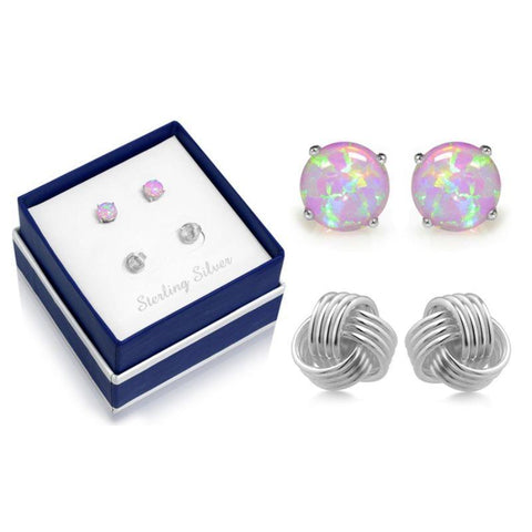 Sterling Silver Love Knot and Pink Opal Earring Set-