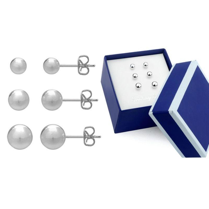Sterling Silver Trio Ball Stud Earrings Set-