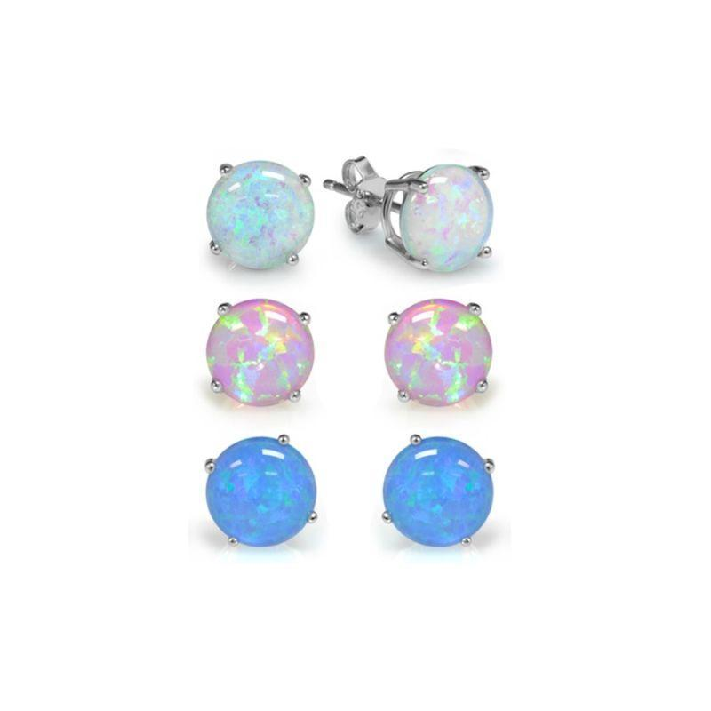 Sterling Silver Trio Blue, White, and Pink Opal Earring Set - 3 Pairs-