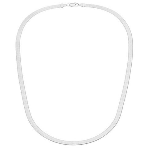 Sterling Silver 4mm Italian Herringbone Necklace-Daily Steals