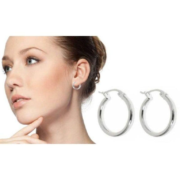 Sterling Silver French Lock Hoop Earrings-Daily Steals