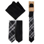 Three-Piece Men's Fashion Set - Two Skinny Ties and Pocket Square-Black-Daily Steals