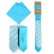 Three-Piece Men's Fashion Set - Two Skinny Ties and Pocket Square-Aqua-Daily Steals