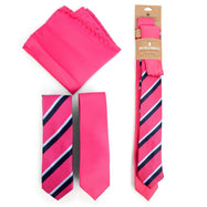 Three-Piece Men's Fashion Set - Two Skinny Ties and Pocket Square-Fushchia-Daily Steals