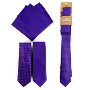 Three-Piece Men's Fashion Set - Two Skinny Ties and Pocket Square-Purple-Daily Steals