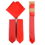 Three-Piece Men's Fashion Set - Two Skinny Ties and Pocket Square-Red-Daily Steals