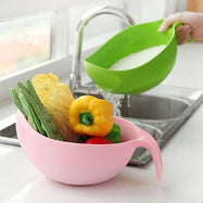 Strainer Sieve Basket with Handle for Rice Fruits & Vegetables-Green-