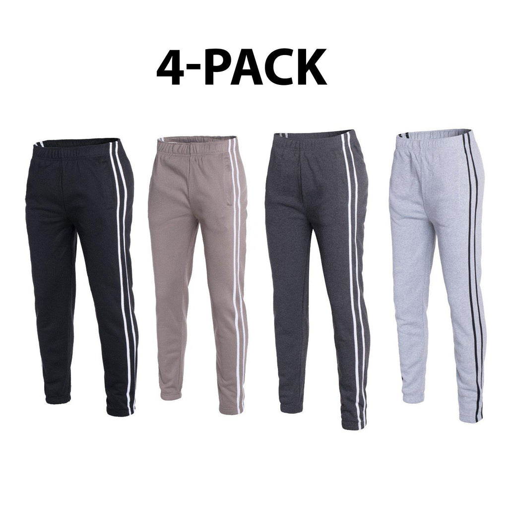 Daily Steals-Men's Striped Jogger Sweatpants - 4 Pack-Men's Apparel-L-