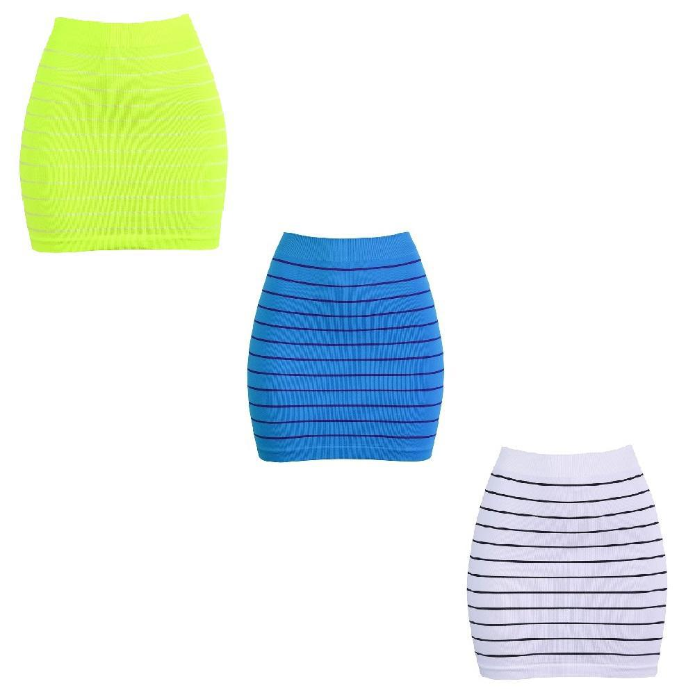 Smooth & Stretchy Nylon Stripped Skirt - Unisize-White, Turquoise, Yellow - Three Pack-Daily Steals