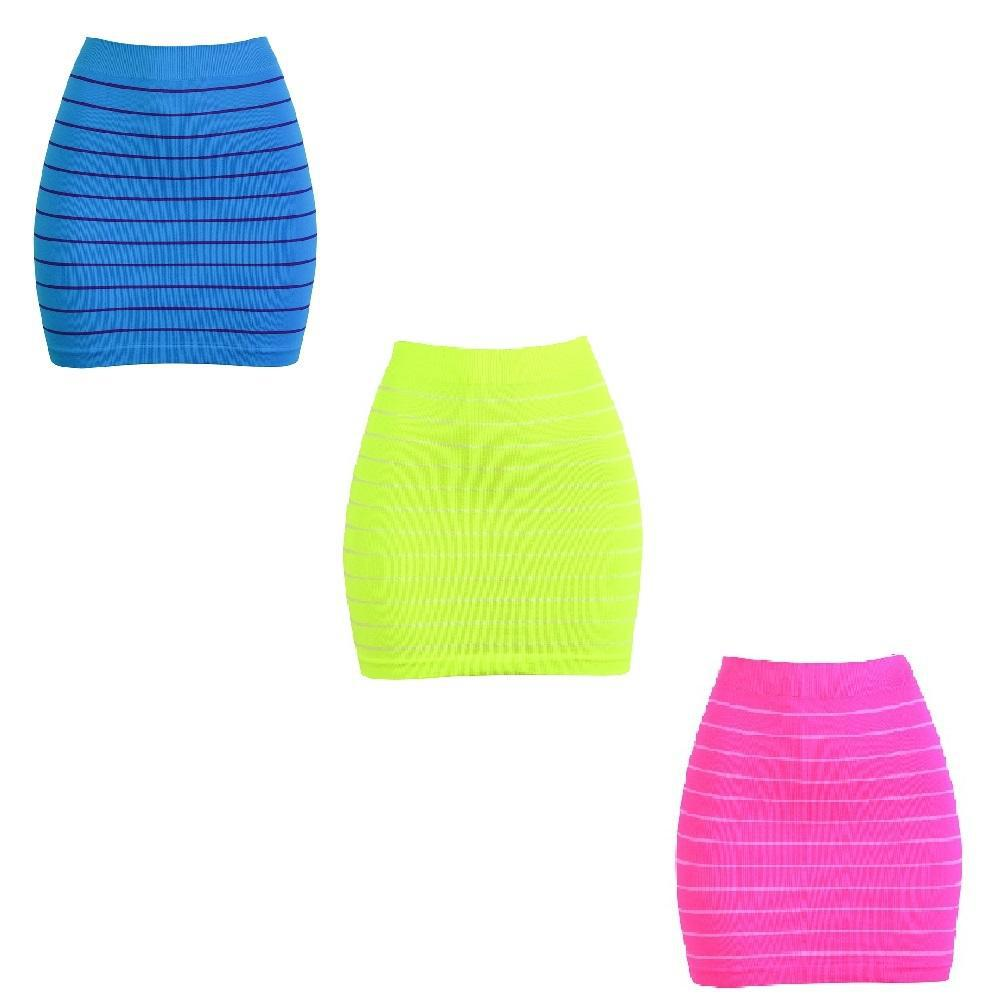 Smooth & Stretchy Nylon Stripped Skirt - Unisize-Pink, Turquoise, Yellow - Three Pack-Daily Steals