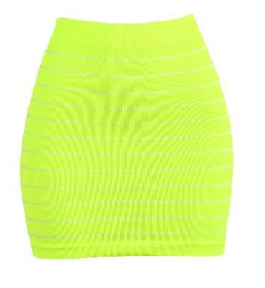 Smooth & Stretchy Nylon Stripped Skirt - Unisize-Yellow - One Pack-Daily Steals