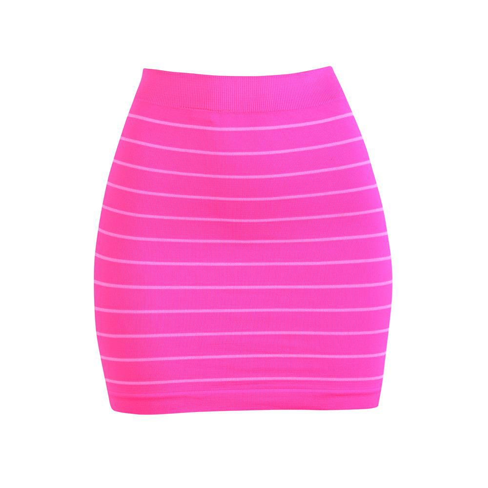 Smooth & Stretchy Nylon Stripped Skirt - Unisize-Pink - One Pack-Daily Steals