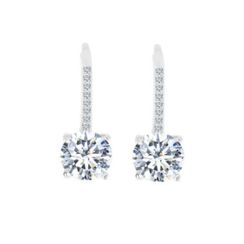 Studded Crystal Leverback Earring in 14K White Gold-