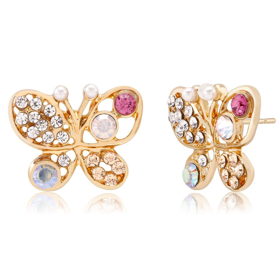 Cubic Zirconia Butterfly Stud Earrings-Daily Steals