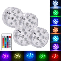 Submersible RGB LED Waterproof Lights - 4 Pack