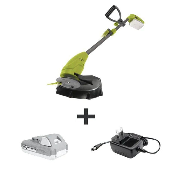 "Sun Joe 24-Volt iON+ Cordless Lightweight Stringless Grass Trimmer Kit, 10""-"