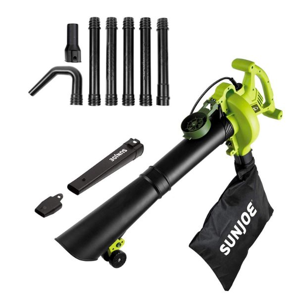 Sun Joe 4-in-1 Electric Blower | 250 MPH 14 Amp | Vacuum Mulcher Gutter Cleaner-Green-Daily Steals