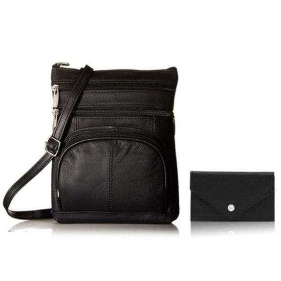 Super Soft Leather Crossbody Bag with Mini Commuter Card Case-Black-