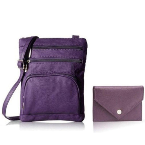 Super Soft Leather Crossbody Bag with Mini Commuter Card Case-Purple-