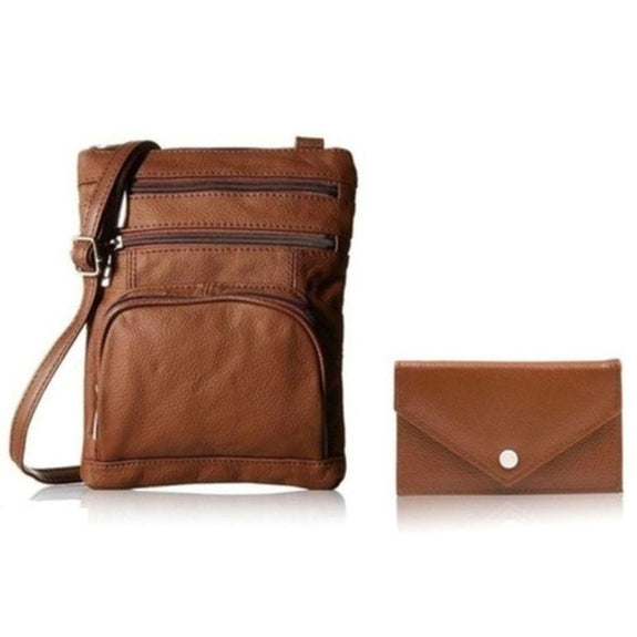 Super Soft Leather Crossbody Bag with Mini Commuter Card Case-Brown-