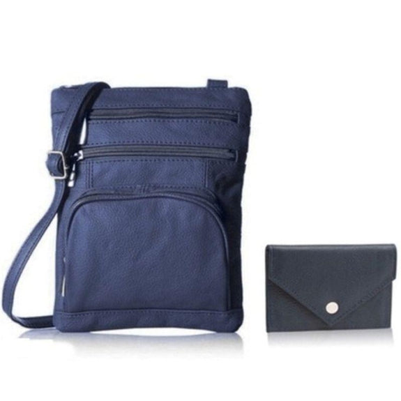 Super Soft Leather Crossbody Bag with Mini Commuter Card Case-Navy-