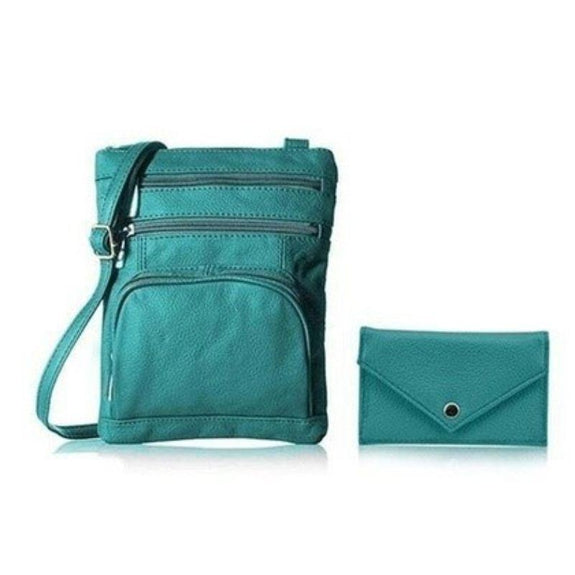 Super Soft Leather Crossbody Bag with Mini Commuter Card Case-Teal-