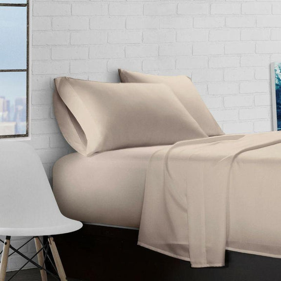 Super Soft Triple Brushed Microfiber - 4 Piece Sheet Set-Taupe-Twin-