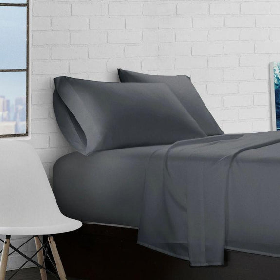 Super Soft Triple Brushed Microfiber - 4 Piece Sheet Set-Charcoal-Queen-
