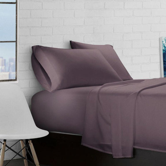 Super Soft Triple Brushed Microfiber - 4 Piece Sheet Set-Eggplant-Full-