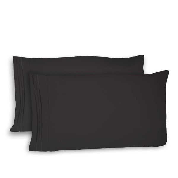Super Silky Soft and Breathable Fabric Pillowcases - 4 Pack-Black-Queen-Daily Steals